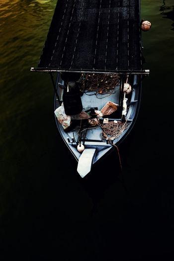 High angle view of boat on lake