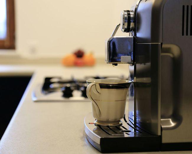 Espresso machine on kitchen counter