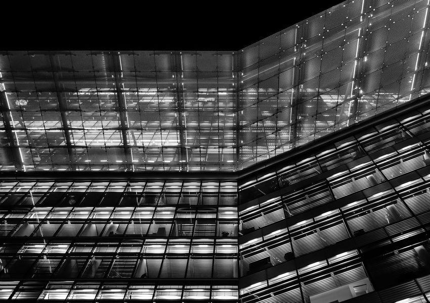 night lights Architecture Architecture_bw Berlin Built Structure Bürohaus Ceiling Charlottenburg  Contemporary Dach Design Glass - Material Lichter Lights Metal Modern Nachtaufnahme Night Night Photography Office Building Pattern Roof Window
