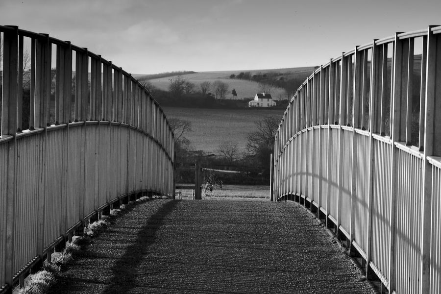 Over The Bridge Sky The Way Forward Nature Direction Built Structure Railing No People Day Footpath Connection Environment Bridge Land Landscape Long South Downs Blackandwhite Black And White South Downs National Park