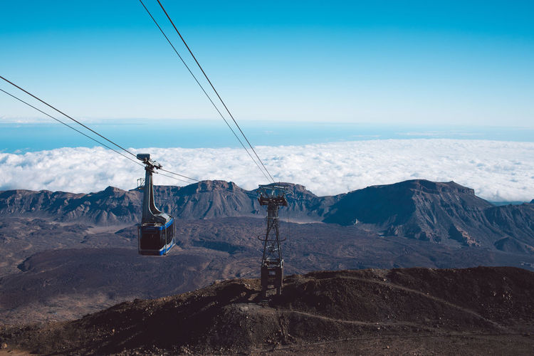 Overhead cable car on snowcapped mountains against sky