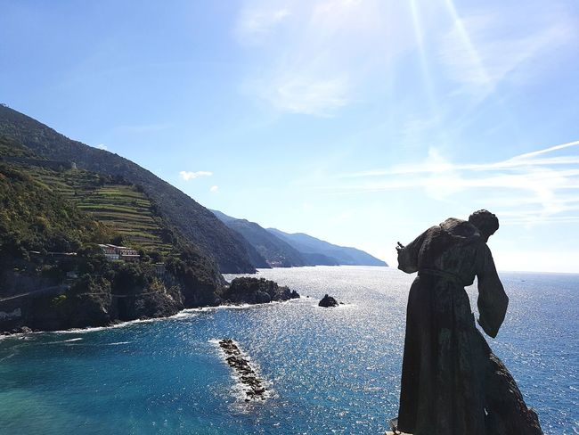No People Outdoors Nature Day Water Sky Mountain Beauty In Nature Italy Cinque Terre HighResolution Cinqueterreitaly Beautiful Statue Ocean Ocean View Built Structure Landscape Nature Scenery Statue Photography Vista Riviera Monterosso Al Mare Statues And Monuments