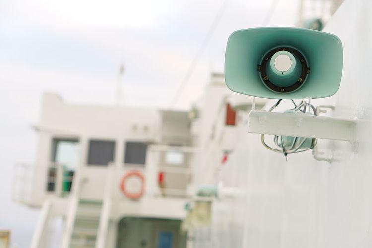 Close-up of speaker on ship