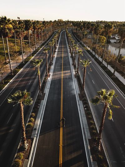 High angle view of bridge over road in city