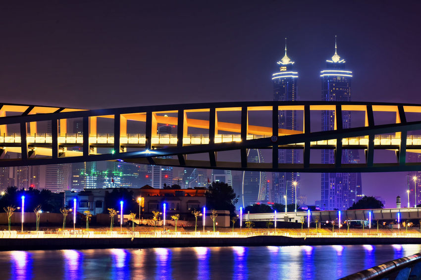 Architecture Bridge - Man Made Structure Building Exterior Built Structure Illuminated Night No People Outdoors Sky Travel Travel Destinations Water Water Canal City Life Relaxing Time Water Canal Dubai Waterfront