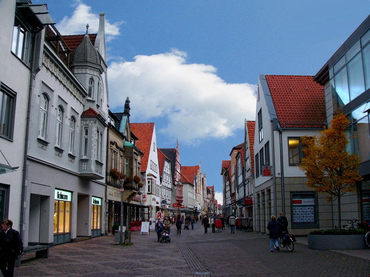 A street scene in the town of Lemgo, North Rhine Westphalia, Germany Lemgo Rhine Architecture Building Exterior Built Structure City Day Germany Group Of People Large Group Of People Men North Outdoors People Real People Sky Town Walking Westphalia