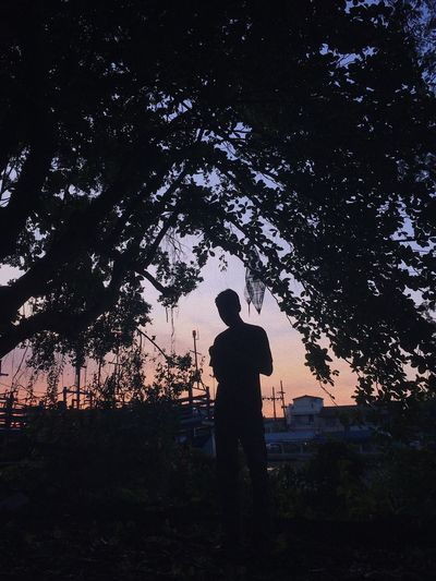 Sunset Sillouette Twilight Sunrise Sunset Silhouette Real People Nature Standing Men Lifestyles People Outdoors Sky Night Land Beauty In Nature Leisure Activity
