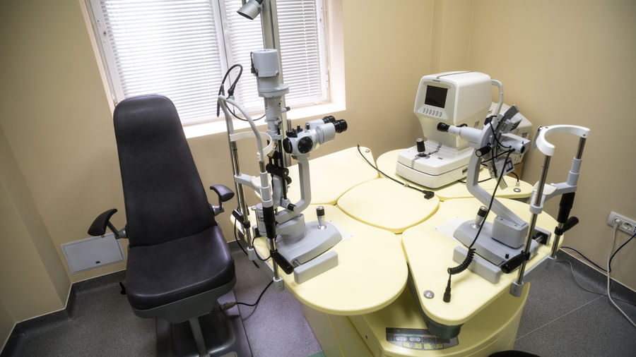 Chair and eye test equipment in clinic