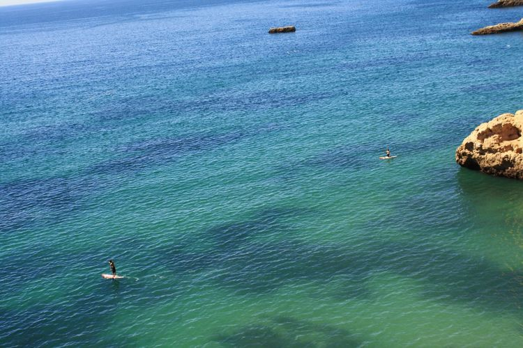 High angle view of men paddleboarding in sea
