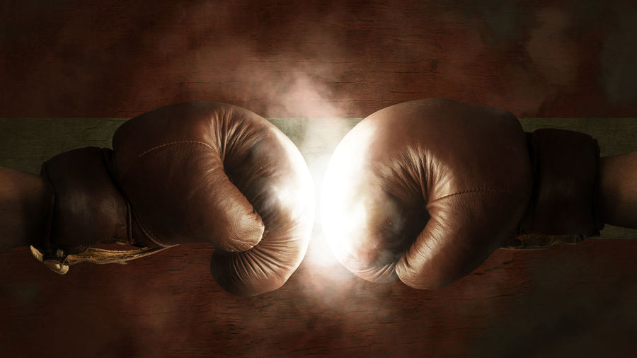 Close-up of two boxing gloves