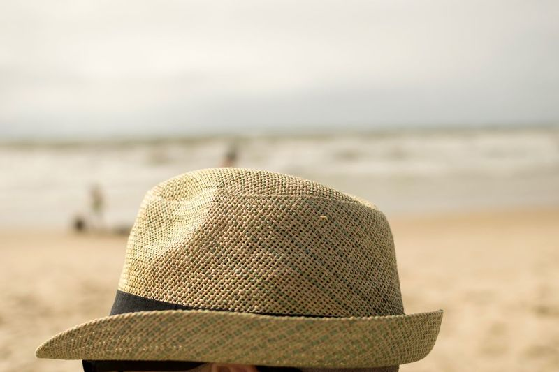 Sand Beach Outdoors Day Close-up Hat Focus On Foreground Sea Water Tranquility Sun Hat