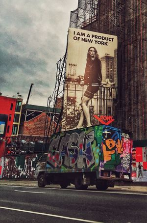 Architecture Art Art And Craft Billboard Built Structure City Life Communication Creativity Culture Graffiti Guidance Information Metal Multi Colored New York City Street Street Art Technology Text Wall Wall - Building Feature Western Script