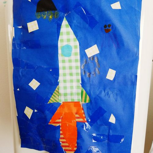 Child's work 子供の絵 工作 宇宙人 宇宙人 ロケット Rocket Alien Space Child's Work Blue Arts Culture And Entertainment Close-up Architecture