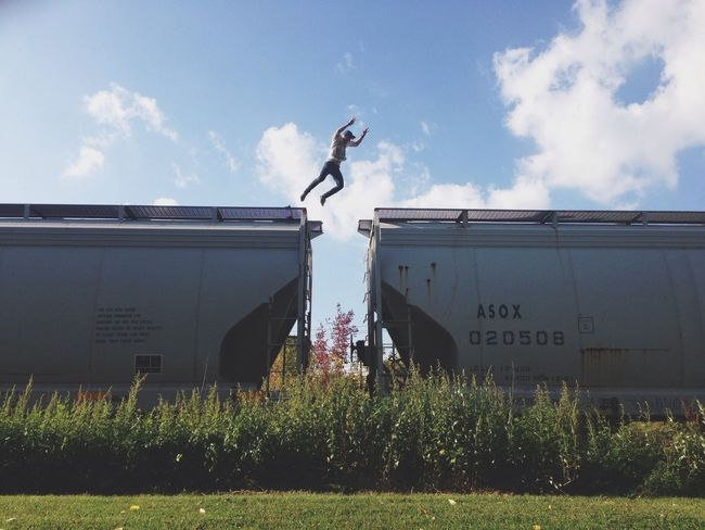 Adventure Jump Jumping One Person Outdoors Sky Thrill Train Trainhopping