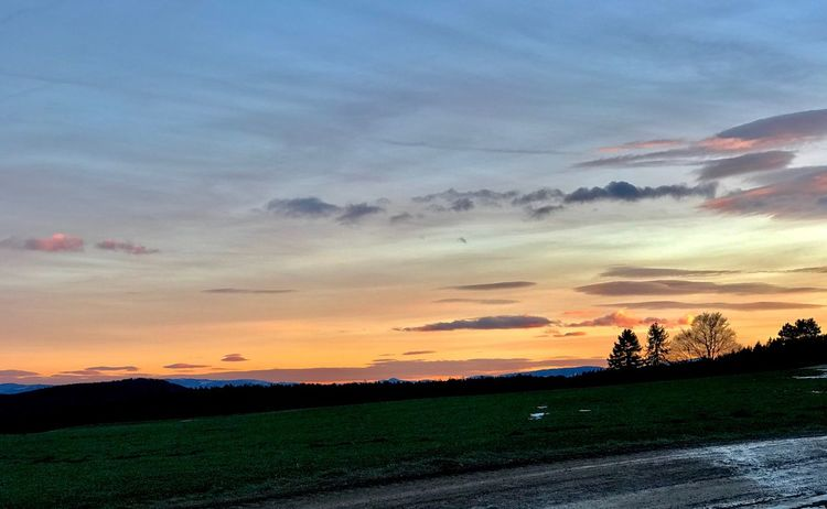 Sunset Nature Cloud - Sky Sky Beauty In Nature Scenics Tranquil Scene No People Outdoors Field Landscape Road Tranquility Agriculture Tree Rural Scene Day