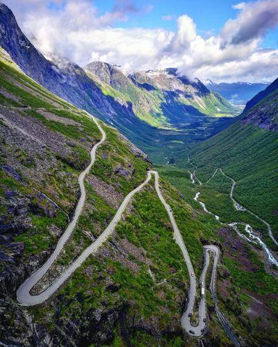Trollstigen Trollstigen Norway Norway🇳🇴 Roadtrip Mountain Cloud - Sky Mountain Range Scenics Beauty In Nature Landscape No People Outdoors Winding Road Day Freshness