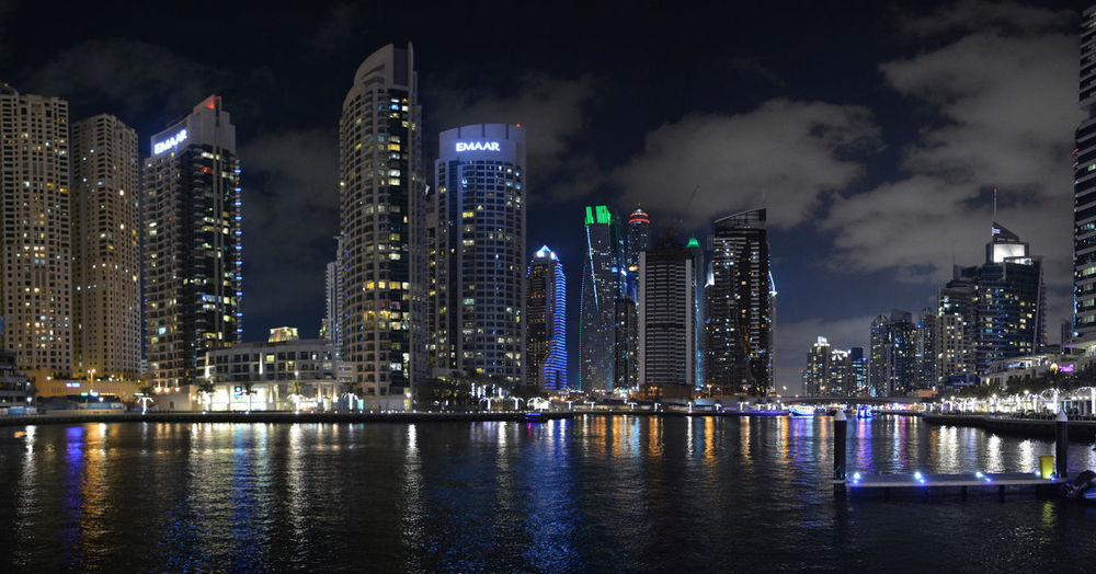 United Arab Emirates Dubai VAE Panoramic Photography Panorama City Cityscape Urban Skyline Illuminated Modern Skyscraper Business Finance And Industry Downtown District City Life Reflection Office Building High Rise Building Story Infrastructure City Location Building Wide Shot Tall Skyline Tall - High Urban Sprawl Financial District  Tower Waterfront Settlement