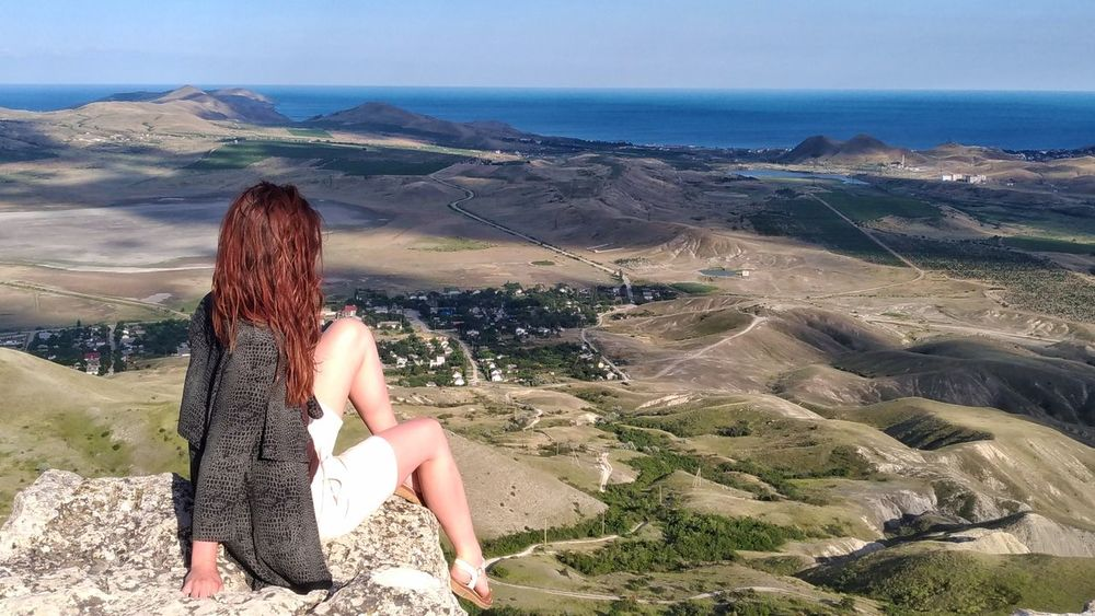 Crimea One Woman Only One Person Rear View Long Hair Tranquil Scene Outdoors Young Adult Sitting Tranquility One Young Woman Only Nature Higland Mountain Landscape Sightseing Holiday Destination Holiday Summertime Summer Sommergefühle