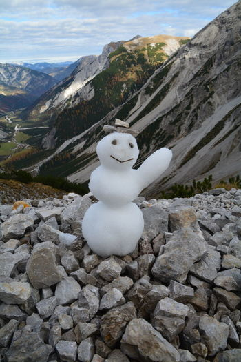 Cold Temperature Day Lamsenjoch Mountain Nature No People Outdoors Snow Snowman White Color Winter
