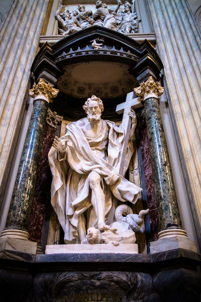 statue in a cathedral in Rome Cathedral Statue Sculpture Human Representation Male Likeness Religion Low Angle View Architecture Indoors