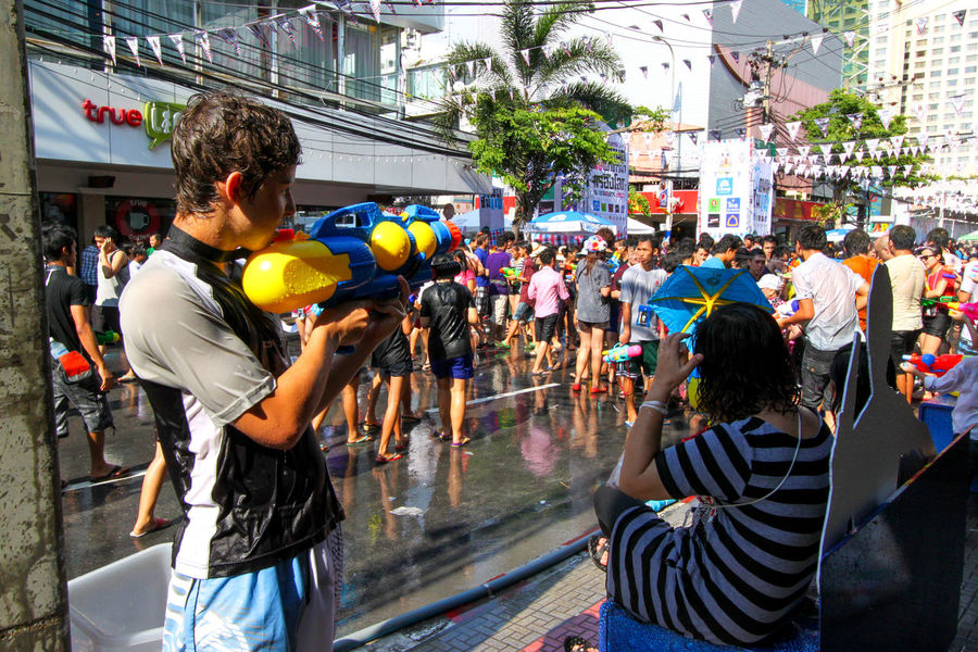 Songkran (Thai New Year) water fight at Siam Square in Bangkok Adult Adults Only Bangkok Celebration Crowd Day Festival Large Group Of People People Real People Siam Square Songkran Water Fight