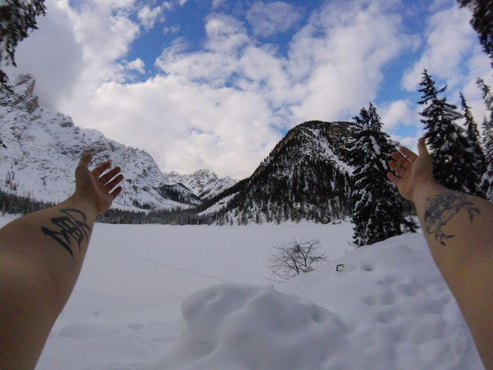 Gopro Session Lago Di Braies Cervo Snow Human Hand Winter Cold Temperature Human Body Part Mountain Real People Personal Perspective Sky Weather One Person Nature Beauty In Nature Cloud - Sky Outdoors Scenics Day Mountain Range Frozen Snowcapped Mountain