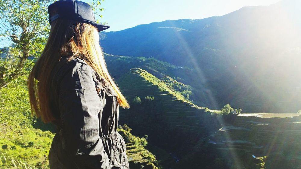 G R E e N. Rice terraces Tree Mountain Adventure Sunlight Sky Landscape