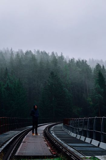 Man Standing On Railway Bridge Against Trees In Foggy Weather