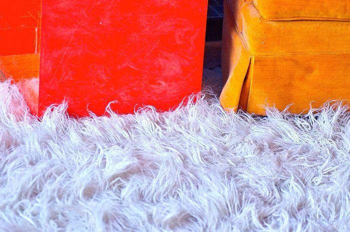 Koduckgirl Living Room Orange Color Flokati Rug