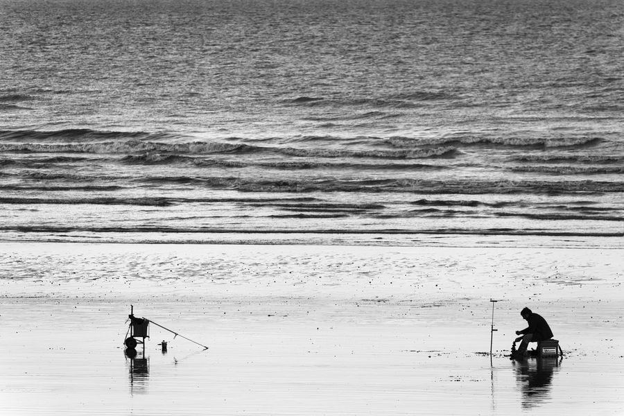 Fishing Time Art Is Everywhere Beach Beauty In Nature Black And White Blackandwhite Break The Mold Bw EyeEm Best Shots - Black + White Fisherman Fishing Fishing Pole Hobby Nature Reflection Reflections Scenics Sea Silence Silhouette Silhouettes TCPM Unrecognizable Person Water The Great Outdoors - 2017 EyeEm Awards Live For The Story Place Of Heart Breathing Space Lost In The Landscape Second Acts Rethink Things Perspectives On Nature Black And White Friday Shades Of Winter Love Yourself This Is Masculinity