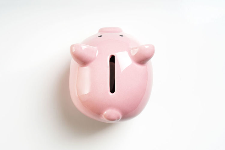 Piggy Bank Savings Studio Shot Pink Color White Background Copy Space Representation Coin Bank No People Piggybank Money Finance Business Money Box Directly Above Topview Investment Still Life Close-up Single Object Animal Representation High Angle View