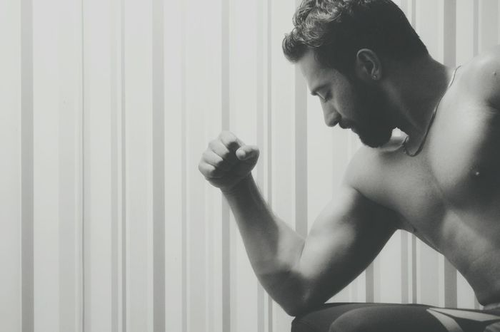 Prashant Pandat - Abshine photography Abshine Abshine_photography Canon Canon1200d Model Delhi Delhiboy Smarty Beard India Indian One Person One Man Only Indoors  Only Men Adults Only Home Interior Domestic Room Shirtless Lifestyles Muscular Build