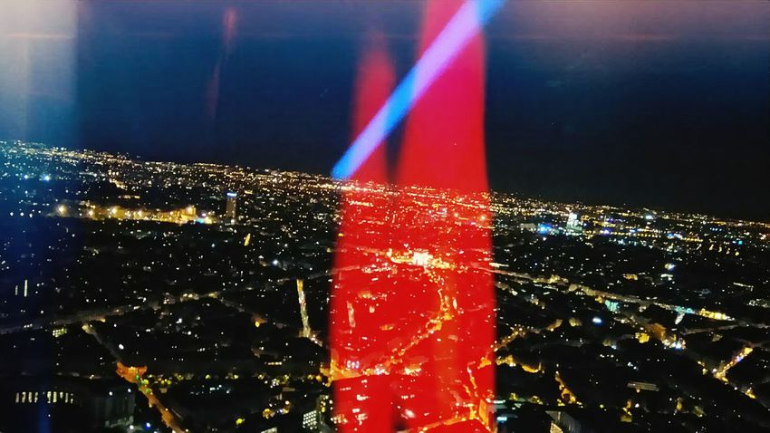 Blue Blue And Red Colour BV Colored Lights Coloured Lights Gaze Light Lights Night Oblique Oblique Strategies Obliques Paris Paris By Night Red Lights View From Above View From Eiffel Tower
