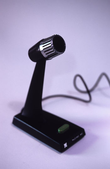 press to talk microphone and stand Black Blackandwhite Button Close-up Coiled Mic Microphone Old-fashioned Paris Press Public Address Public Announcement Single Object Sound Speak Talk Tannoy Wire