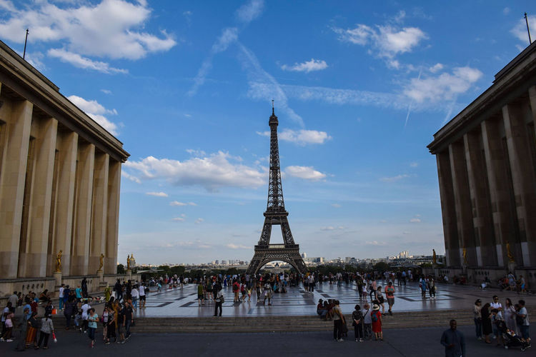 Eiffel Tower EyeEm Selects City Crowd Architectural Column History Blue Statue Journey Cultures Monument Tower Panoramic