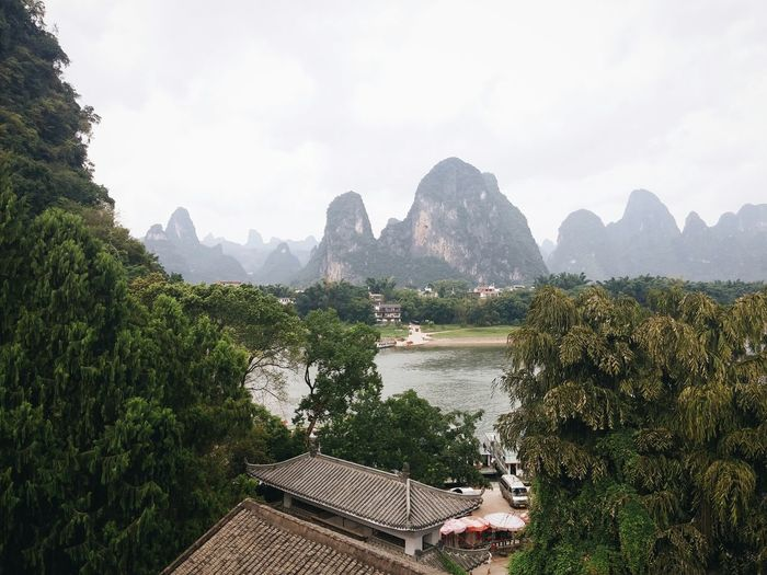 The view of li river and the karst mountain in xingping china