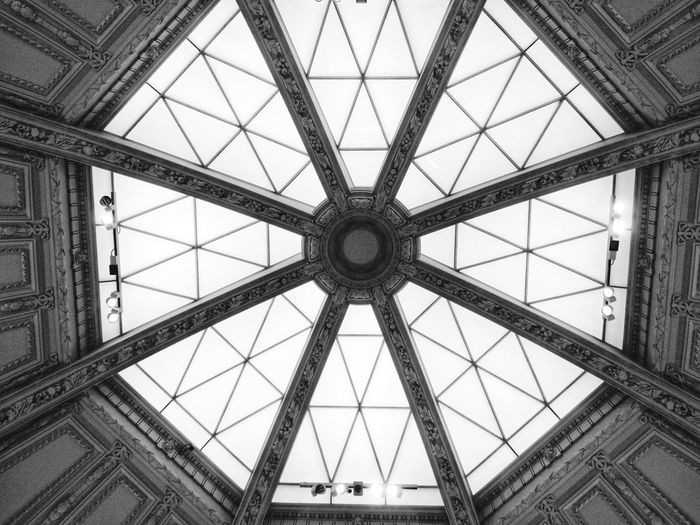 Ceiling Architecture Built Structure Indoors  Low Angle View Pattern Day Roof No People Symmetry Sky Pattern, Texture, Shape And Form Detail Taking Photos Art Artgallery London Photography London_only Taking Pictures Blancetnoir Biancoenero Black & White Museum Blancoynegro Blackandwhite