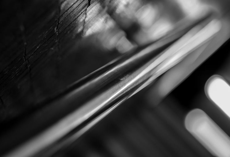 Close-up of illuminated railing