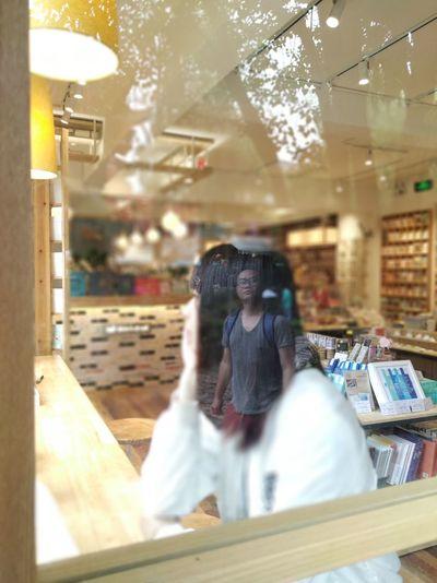 位置决定价值. One Person Real People Lifestyles Reflection Indoors  Activity Photographing