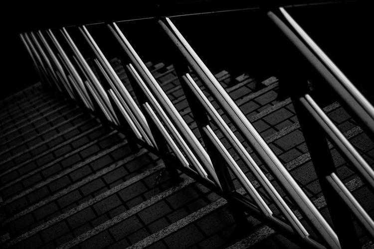 Black & White Blackandwhite Blackandwhite Photography Day High Angle View Monochrome Monochrome Photography No People Outdoor Photography Outdoors Pattern ひかるキノコ アウトドア モノクローム 光 手すり 線 階段