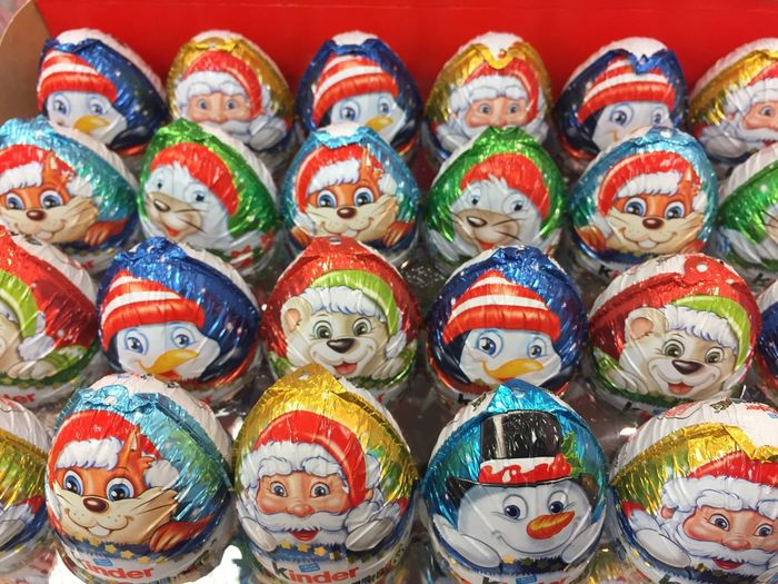 Kinder Chocolate Christmas figurines and eggs. Kinder Chocolate is a confectionery product brand line of Italian confectionery multinational Ferrero SpA No People Retail  In A Row Collection Choice Close-up Figurine  Market Christmas Christmas Food Sweet Food Sweet Foods Christmas Food Sweets Consumerism Tradition Traditional Chocolate Chocolate♡ Kinder Xmas Kinder Surprise Christmas Figures Christmas Figurine Large Group Of Objects Multi Colored Variation