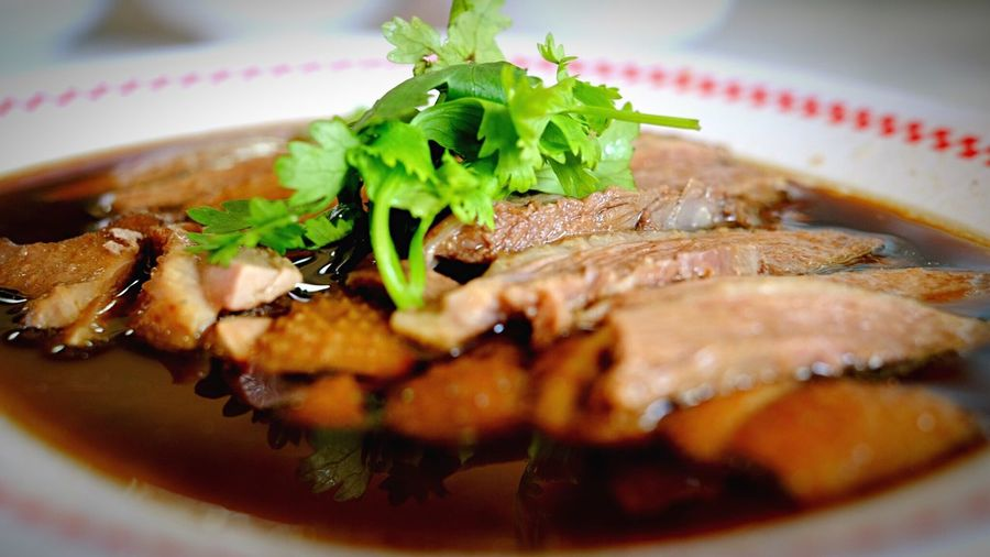 Close-Up Of Goose Meat Served In Plate