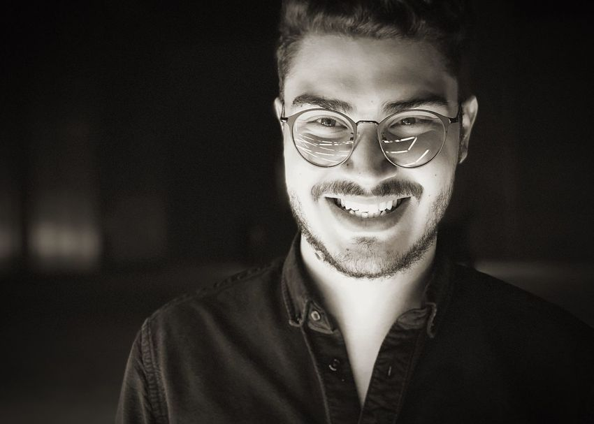 EyeEm Selects Architecture Smiling Real People Looking At Camera Happiness Toothy Smile Cheerful Young Adult Portrait Laughing Front View One Person Lifestyles Young Men Focus On Foreground Indoors  Eyeglasses  Young Women Close-up Day Adult