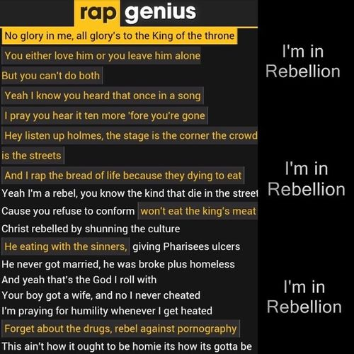 Who said Christians can't rap? Here's an awesome, meaningful and unique style by Lecrae! Rebel intro <3 I'M IN REBELLION! Lecrae