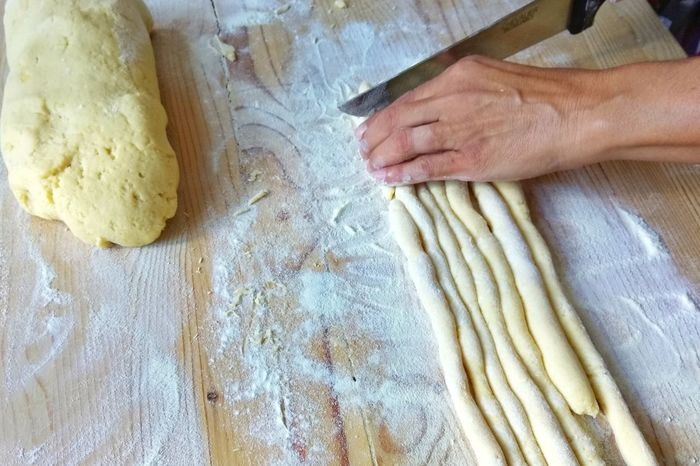 Dough Flour Preparation  Kneading Indoors  High Angle View Human Hand Human Body Part People One Person Domestic Life Lifestyles Homemade Adult Close-up Adults Only One Man Only Day Freshness Pasta Pasta Home Made Gnocchi Di Patate Gnocchihomemade
