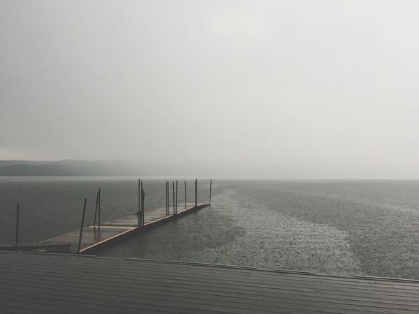 When rain hits home Water Sea Fog Copy Space Railing Nature Outdoors No People Day Beauty In Nature Scenics Sky Horizon Over Water IPhoneography Bredballe Vejle Denmark Tirsbæk