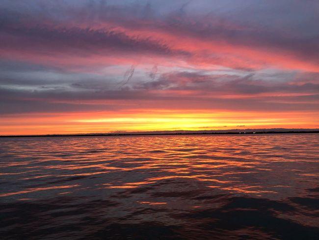 Burning lake Sunset Sky Scenics - Nature Water Sea Cloud - Sky Beauty In Nature