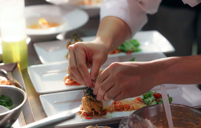 Business Chef Commercial Kitchen Cutting Dining Domestic Room Food Food And Drink Freshness Hand Human Body Part Human Hand Indoors  Kitchen Meat People Plate Preparation  Preparing Food Real People Restaurant Table