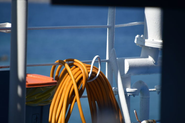Close-up of rope on boat deck