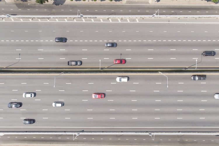 Aerial top down view of cars on the expressway street Transportation High Angle View Street Car Vehicle Road Expressway Bridge - Man Made Structure Travel Traffic Destination Top View Aerial Lane Bangkok No People